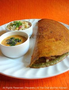 I am sure all of us are aware of this famous Andhra breakfast which is called 'MLA pesarattu' and when combined with upma it is called 'Up. Pesarattu Recipe, Upma Recipe, Breakfast Snacks, Breakfast For Dinner, Breakfast Recipes, Dinner Recipes, Indian Snacks, Indian Food Recipes, Veg Curry