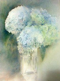 aquarelles Anne Peyrat, hortensias bleus, tarbes, place du foirail, stages…