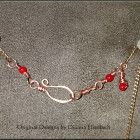 Hammered Copper Heart Pendant wrapped with Carnelian Gemstone Beads