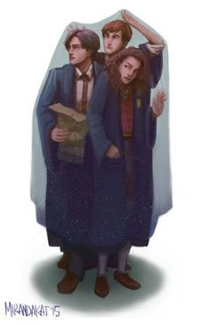 Harry Potter Ron and Hermione under invisibility cloak drawing