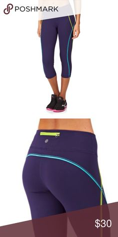 Roxy Excel Capri Leggings NWT. Roxy purple capri yoga pants with blue and green stripes. New with tags. Please note, these are a Juniors medium but fits women's small. Roxy Pants Leggings