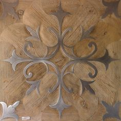 """Tuscania"" Inlaid squared tile wood and steel Wooden Floor Tiles, Wood Tile Floors, Solid Wood Flooring, Wood Paneling, Wooden Floor Pattern, Floor Patterns, Tile Patterns, Textures Patterns, Wood Parquet"