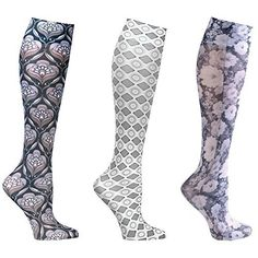 9fcac464f9b Women s Mild Compression Printed Knee High Stockings - Neutral Grey Set Of  3 Asst