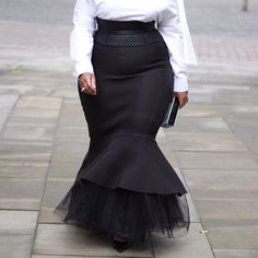 Ladies Black Mermaid Winter Long Women Skirt with Mesh Ruffles Trumpet Party Plus Size Maxi Skirts High Waist Autumn 2019 Winter Fashion Outfits, Women's Fashion Dresses, Skirt Fashion, Black Mermaid, Split Skirt, Plus Size Maxi, High Waisted Skirt, High Waist Jeans, Waist Skirt