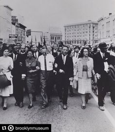 """#Repost @brooklynmuseum  In honor of #MLKDAY we're looking back to #MonetaSleet's 1965 photograph which was featured in our 2014 exhibition """"Witness: Art and Civil Rights in the Sixties."""" In it Dr. Martin Luther King Jr. and his wife Coretta Scott King lead participants at the end of the 1965 Selma-to-Montgomery March to protest police brutality and to demand federal legislation to enforce voting rights. The 1965 Voting Rights Act was signed into law four and a half months later."""