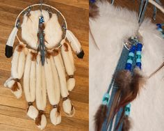 REAL Native Made Fur Boho Dreamcatcher Wall Hanging with Genuine Leather Feathers and Conchos | Vintage 1980s Handmade Southwestern Decor