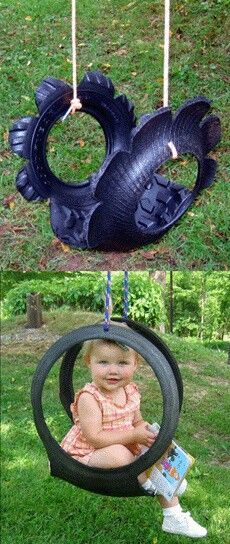 Cute swing made from recycled tire! Cute swing made from recycled tire! Outdoor Projects, Diy Projects, Tire Craft, Tire Swings, Tyres Recycle, Recycled Tires, Reuse Recycle, Recycled Crafts, Diy Crafts