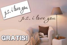 Muursticker p.s. I love you in zwart, wit of roze t.w.v. €29,95 nu GRATIS!  #GRATIS #aanbieding #iLoveYou #muursticker  https://www.vouchervandaag.nl/ps-i-love-you-muursticker-wall-decoratie-gratis-aanbieding