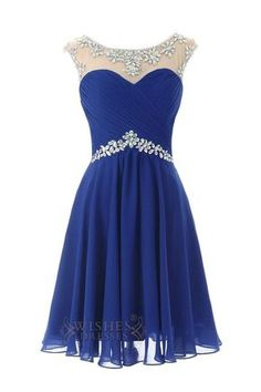 ff313f82da Sexy Royal blue Chiffon Short Cocktail Dress   Prom Dress  Homecoming Dress  Am246