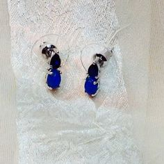 Blue Opal & Sapphire Earrings Handmade by NorthCoastCottage