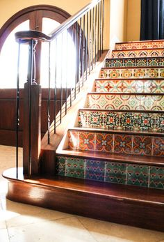 Mexican Talavera tiles on stairway treads