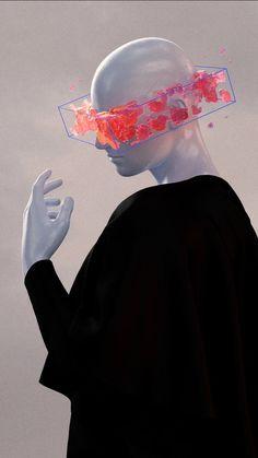Arte Robot, Arte Cyberpunk, Web Design, Graphic Design, Glitch Art, Design Graphique, Monochrom, Surreal Art, Aesthetic Art