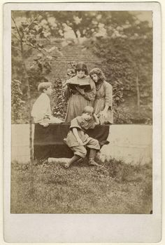 Sir Philip Burne-Jones, 2nd Bt; Jenny Jane Alice Morris; Margaret Mackail (née Burne-Jones); May Morris. By Frederick Hollyer. Albumen cabinet card, 1874. © National Portrait Gallery, London. Fathers...
