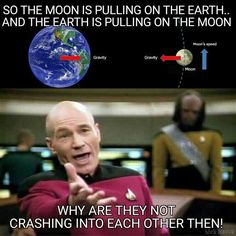 The Moon orbits the Earth so it falls around, instead of into the Earth. Click the pin or follow this link to an animation that helps explain how this works -> http://howthingsfly.si.edu/flight-dynamics/gravity-orbit #Flatearth