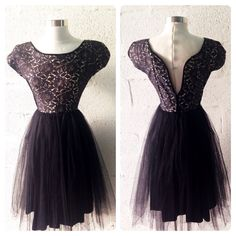 1950's Black Lace and Tulle Party Dress, Taffeta 1950s prom dress  on Etsy, $165.00