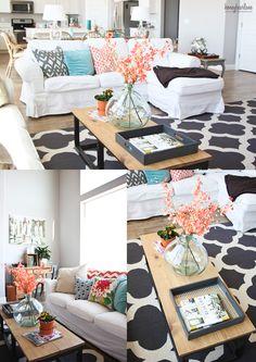 Colorful Living Room via Honeybear Lane >> #WorldMarket Living Room Decor, Home Decor, Tips