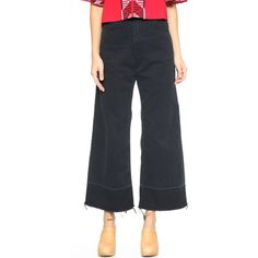 Rachel Comey Legion Pants (460 CAD) ❤ liked on Polyvore featuring pants, charcoal, highwaist pants, high-waisted trousers, wide-leg trousers, cuff pants and zip pants