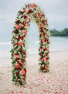 Flower Wedding Arbors and Arches - Trendy Bride Magazine Wedding Arbors, Wedding Arch Flowers, Wedding Ceremony Arch, Floral Wedding, Beach Ceremony, Wedding Table, Arc Floral, Floral Arch, Floral Backdrop