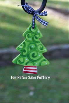 Christmas tree ornament by forpetessakepottery on Etsy,