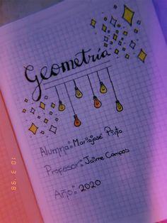 Caratula de Geometría fácil y bonita Bullet Journal School, Bullet Journal Ideas Pages, Notebook Design, School Notes, Foto Bts, Ideas Para, Diy And Crafts, Lettering, Inspiration