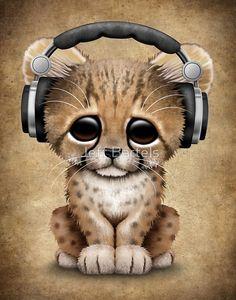 Cheetah Cub Dj Wearing Headphones
