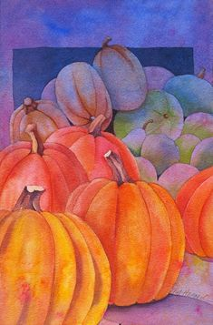 The Painted Prism: WATERCOLOR WORKSHOP: Painting Pumpkins (there are some other step by step lessons for watercolor on this site) Watercolor Fruit, Watercolor And Ink, Watercolor Paintings, Watercolors, Watercolor Flowers, Pumpkin Drawing, Pumpkin Art, Pumpkin Leaves, Pumpkin Painting