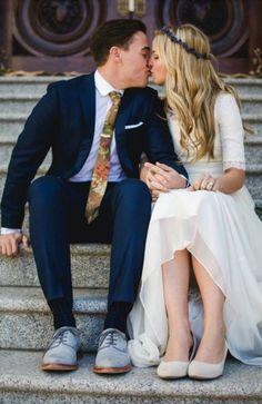 modest wedding dress with half sleeve and flowy skirt from alta moda.