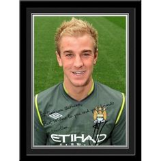 Joe Hart Signed PhotoThis is a fantastic present for any Manchester City fan and is approved and fully licensed by Man City.    This is a unique gift displaying the player's photo and a personalised message alongside his replica printed autograph.     Choose from Adam Johnson, Kolorov,  Pantilimon,Tevez, Silva, Dzeko, Clichy, Barry, Hart, Milner, Kolo Toure, Ballotelli, De Jong, Zabaleta, Mancini, Kompany, Yaya Toure, Nasri, Aguero & Savic. Kolo Toure, Adam Johnson, Soccer Gifts, Soccer Fans, Manchester City, Gifts For Boys, Unique Gifts, Messages, Baseball Cards