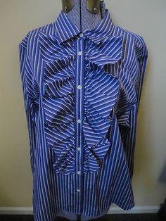 Lauren Ralph Lauren Ruffle Shirt Blouse Purple Black White Stripe XL 14 16 New With Tag $34.99 Free Shipping!  http://cgi.ebay.com/ws/eBayISAPI.dll?ViewItem=300807705742=STRK:MESE:IT