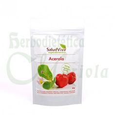 SaludViva, Superalimentos en Polvo de Acerola, con altas propiedades tonificantes y remineralizantes, aporta Vitaminas, Vitamina C, Minerales y Carotenoides.