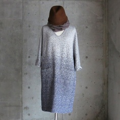 gradation color fleecy knitting _ one piece 02 _ navy