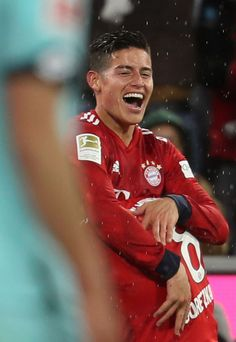 James Rodriguez of FC Bayern Muenchen celebrates his third goal...