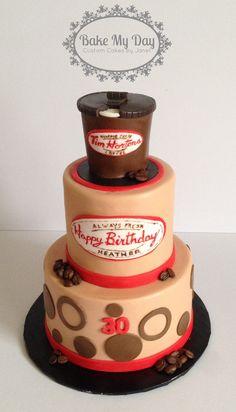 Tim Horton's 30th birthday cake www.facebook.com/CustomByJanet 30 Birthday Cake, Tim Hortons, Custom Cakes, Party Gifts, 50th, Birthdays, Gift Ideas, Facebook, Baking