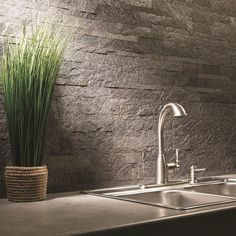 Aspect 24 in. x 6 in. Peel and Stick Stone Backsplash in Frosted Quartz