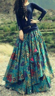 Ideas Skirt Boho Clothing For 2019 - # Ethno Style, Gypsy Style, Boho Gypsy, Boho Hippie, Bohemian, Modest Fashion, Boho Fashion, Fashion Dresses, Long Skirt Fashion