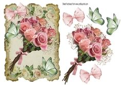 Pretty pink bouquet of flowers with butterflies in vintage frame on Craftsuprint - View Now!