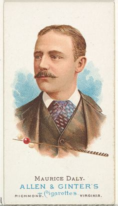 Allen & Ginter (American). Maurice Daly, Billiard Player, from World's Champions, Series 1 (N28) for Allen & Ginter Cigarettes, 1887. The Metropolitan Museum of Art, New York. The Jefferson R. Burdick Collection, Gift of Jefferson R. Burdick (Burdick 201, N28.46) #mustache #movember