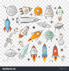 Collection of sketchy space objects. Space ships, rockets, space shuttle, planets, flying saucers, astronauts etc.