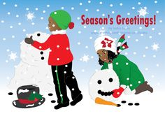 "This Christmas card shows two small black (African American) children happily building a big snow man under the snowfall. The girl is putting together the face of snowman and boy is building the body. Text inside says ""May peace, love, and prosperity follow you throughout the new year. Merry Christmas"" Holiday Card. Christmas Card. Black children. Afrocentric Card. Greeting Cards. Original illustration by Isidra Sabio"