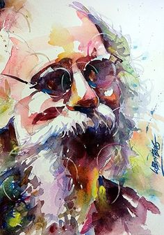 The Bearded One by David Lobenberg Watercolor ~ 15 inches x 11 inches