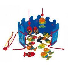 Een spannend Houten #visspel om de concentratie te stimuleren. Geschikt voor 1 tot 4 spelers in de leeftijd van 4 en ouder. Vang de mooi gekleurde vis. Voorzien van 2 hengels.  #speelgoed