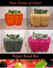 Green Bell  pepper  decor | NEW KITCHEN GREEN RED YELLOW ORANGE BELL PEPPER BREAD BOX CANISTER 4 ... Yellow Chili Peppers, Green Bell Peppers, Red Green Yellow, Orange, New Kitchen, Kitchen Decor, Bread Boxes, Stuffed Peppers, Vegetables
