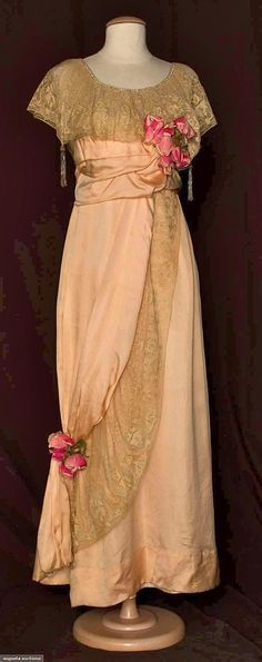PINK SILK & LACE EVENING GOWN, c. 1912