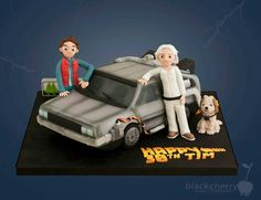 This Back To The Future Birthday Cake featues the DeLorean, Doc Brown, Einstein, and Marty McFly. Harry Birthday, Adult Birthday Cakes, Star Wars Birthday, Star Wars Party, 80th Birthday, Birthday Ideas, The Future Movie, Back To The Future, Ghostbusters Cake