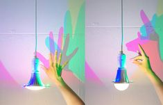 Designer Dennis Parren's cool, but spendy lightbulb has red, green and blue LEDs around its perimeter which cast colorful cyan, magenta and yellow shadows Light Art Installation, Color Theory, Lava Lamp, Light Bulb, Room Decor, Colours, Lights, Outdoor Decor, Floral
