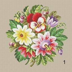 Berlin Woolwork Bouquet 1, 2, 3 Multifloral Antique Bouquets Cross Stitch PDF Patterns