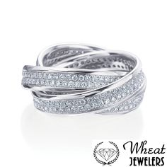 Criss Cross Diamond Eternity Ring available at Wheat Jewelers
