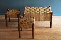 Bancos de palma, tejido original. c1950
