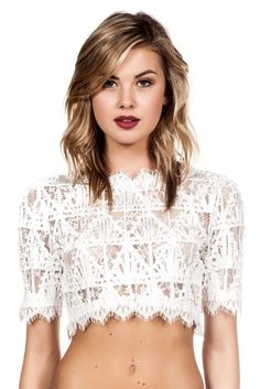 Corded Lace Crop Top - White