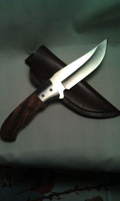 "$64.99 Custom Knife 8 1/2"" 440C SS w Bookmatched Curly Redwood Handle Custom Sheath | eBay"